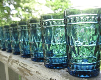Vintage Blue Park Lane Juice Glasses by Colony set of 8 in Box