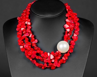 Red coral and pearl
