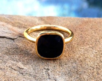 Black Onyx Ring, Square Ring, Stackable Ring, SALE 25% OFF