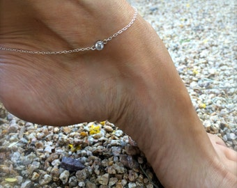 Diamond Anklet Sterling Silver Crystal Anklet CZ Solitaire Anklet Silver Ankle Bracelet Bridal Anklet Gold Anklet Gifts for Her Bridesmaids