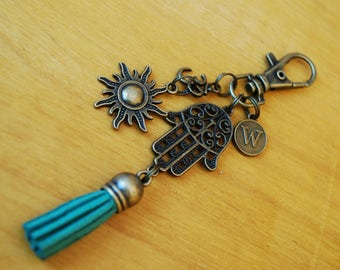 Hamsa hand tassel keychain, FREE SHIPPING, Personalized keyring, hippie style, Sun charm key chain, ohm symbol, teal tessel, Unisex gift