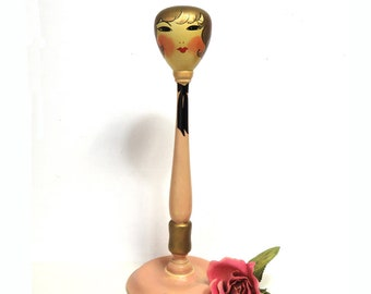 Art Deco Girl Wooden Hat Stand/ Antique Hand Painted Flapper Lady Woman/  Toppy Products, California