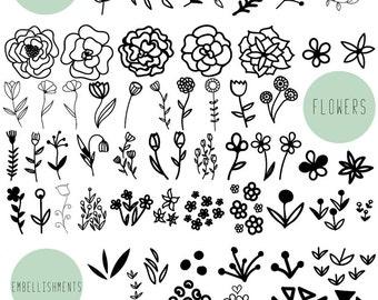 Floral clip art /  Wedding clipart / Scrapbook supplies / Black and white / Hand drawn doodle / Flower clip art / Leaf clip art / Doodle art