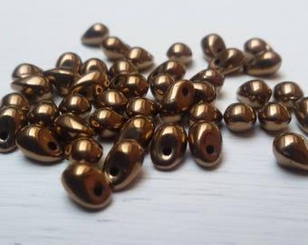 Mini drops 4 x 6 mm x 20 Bronze Gold