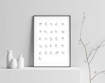 American sign language Wall Art Wall Decor Poster Instant Download