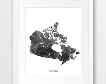 Canada Map Print, Canada Watercolor Print, Canada Wall Art, Watercolor Map Canada Grey Black White, Home Decor, Travel Poster, Printable Art