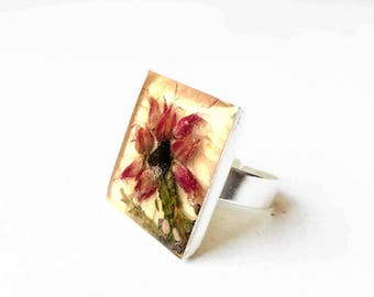 Geometric fashion ring - modern geometric ring - real lava and flower ring - ring with lava stone - square resin ring with real flowers