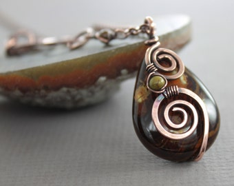 Swirly rich brown and honey agate stone copper necklace on chain - Copper necklace - Stone necklace - Agate necklace NK024