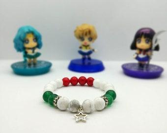 KUU - Sailor Pluto Gemstone Bracelet, 8mm, Mountain Jade, Howlite, Beaded Bracelet, Beaded Jewelry, Handmade Jewelry