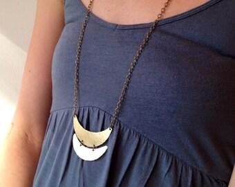 Brass Crescent Necklace