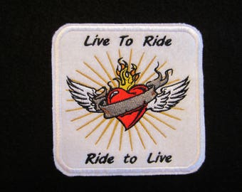 Embroidered Live To Ride Iron On Patch, Ride To Live Iron On Patch, Biker Patch, Motorcycle Patch, Biker