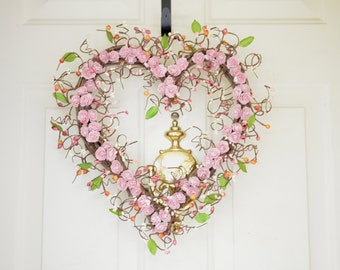 Light Pink Heart Shaped Wreath Pink peonies Spring Summer Heart wreath Wedding wreath Year round decor Valentines Day Front Door wreath