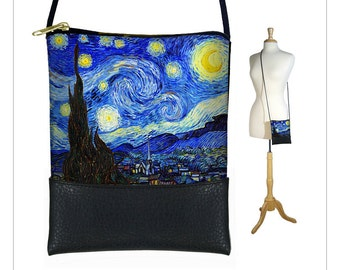 Small Cross Body Bag, Starry Night Shoulder Bag Purse, Mini Crossbody Bag, Smartphone Purse fits iPhone 6 Plus, blue yellow RTS
