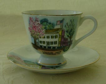 Vintage Collectible Miniature Cup and Saucer, Springfield Illinois, Made in Japan