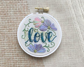 Hand Embroidered Hoop, Love Embroidery, Hoop Art