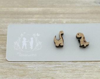 Wood adorable dinosaur earrings - Laser Cut Stud Earrings - Wooden earrings - Australian Seller