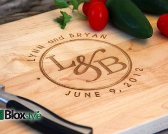 Personalized/Engraved Cutting Board with Names & Initials Design 11x16x 3/4 or 9x12, Personalized Wedding Gift, Custom Cutting Board