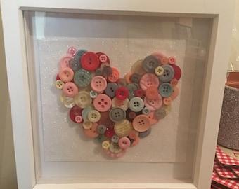 Button love heart frame