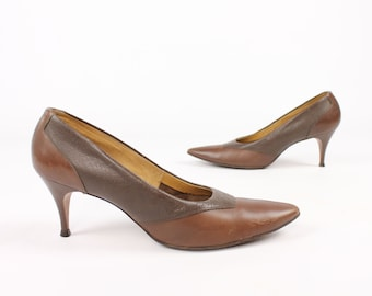 Vintage 50s Leather Pumps Brown Stilettos Heels Pointy Toes  1950s Size 7 Risque Pinup Rockabilly Mid Century