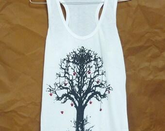 Art tank top gym tanks/ whimsical tree art/ tree shirt workout tank top/ white polyester/ sales/ cotton clothes S M L XL