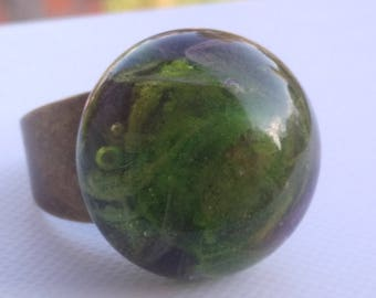Ring - Green mystery - Lampwork Glass