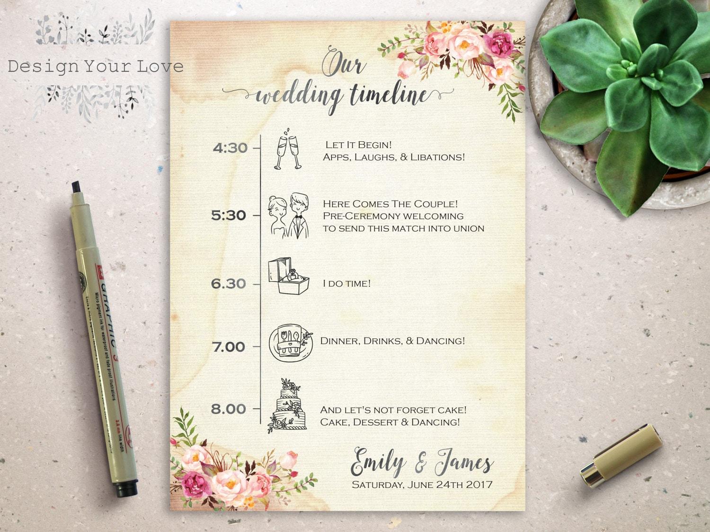Druckbare Hochzeit Reiseroute druckbare Hochzeit Timeline rosa