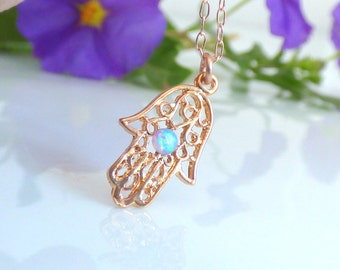 Rose gold Hamsa Necklace ,Rose gold Hamsa Hand Necklace, Hamsa Necklace with blue opal, Evil eye necklace, Rose gold Necklace