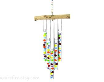 Random Rainbow Dot Wind Chime, Rainbow Windchime, Rainbow Wind Chime,Glass Chimes