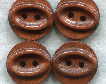 Rusty Brown Ridged Buttons Decorated Wooden Buttons 18mm (3/4 inch) Set of 8 /BT237