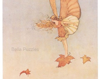 Hand-cut wooden jigsaw puzzle. LEAF FAIRY in WIND. Outhwaite. Fairytale gift. Wood, collectible. Bella Puzzles.