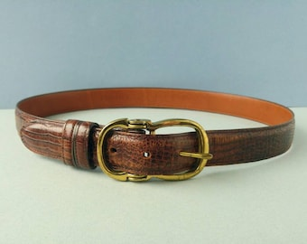 Vintage Joan & David Leather Faux Croc Belt - Brass Buckle and Calfskin - Women's Size L
