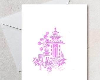 Pink Chinoiserie - A2 Blank Note Card