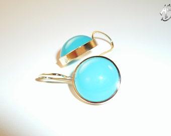 Chalcedonohrringe, gold earrings turquoise, turquoise earrings,