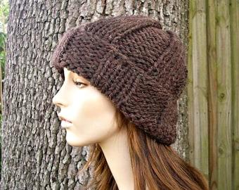 Knit Hat Brown Mens Hat Brown Womens Hat - Watchman Cap Beanie in Wood Brown Knit Hat - Brown Hat Brown Beanie Womens Accessories Winter Hat