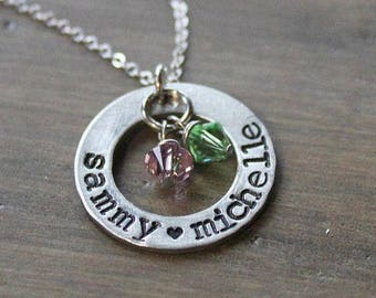 personalized mothers necklace, mothers name necklace, hand stamped mothers necklace, mothers child name necklace, mothers jewelry, mothers