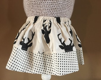 Girls Buck Night Skirt with dot trim