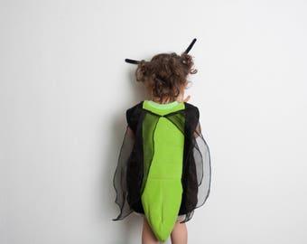 Firefly Children Costume, Lightning Bug Halloween Costume for Toddler Boy or Girl, Toddler Cricket Costume with Wings