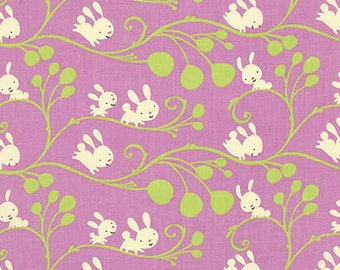 1 YARD Kids Quilt Cotton Fabric Bunnies and Vines in Lilac ~ Garden by David Walker for Free Spirit