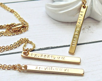 Personalized Gold Bar Necklace, Roman Numeral Necklace, Roman Dates Necklaces, Date Bar Necklace, Anniversary Necklaces, Gold Bar Necklace