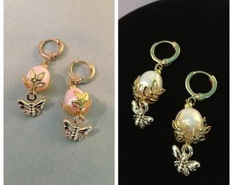 Gold BEE Leaf Earrings, REAL Pearls, Reproduction early 19th century Regency, FRESHWATER pearl bee earrings, New