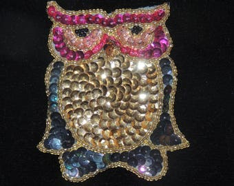 OWL Applique/Pin with Sequins and beads