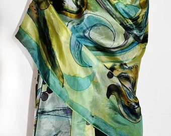 Hand painted silk shawl/Green exotic flowers/Hand painted silk scarf/Painting silk shawl/Woman silk shawl/Woman accessory made by /H0047