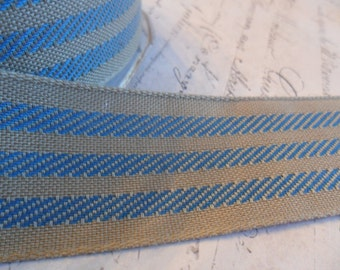 Soft Kraft Brown and French Blue Fabric Stripe Ribbon 1.25 inches wide