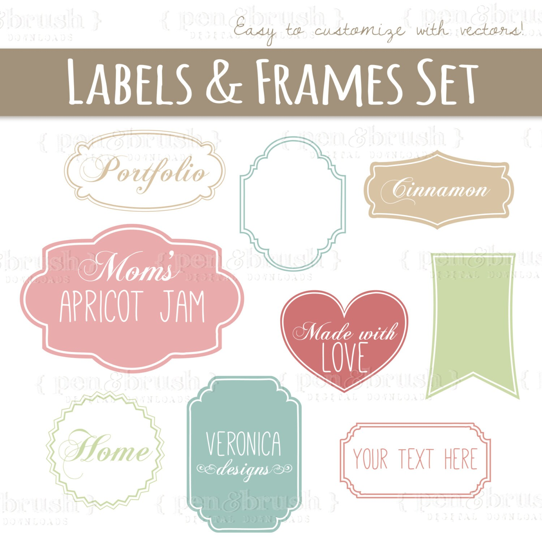 CLIP ART: Cute Vector Labels & Frames // Photoshop Brushes //