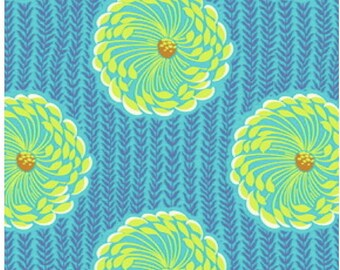 CLEARANCE Delhi Blooms Ocean Fabric Amy Butler Soul Blossoms Quilters Cotton Blue Floral 1 Yard