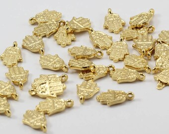 20 Pcs 24k Gold Plated Hamsa Charms, 9x13mm, Hamsa Pendant, Tiny Hamsa, Gold Plated Pendants, KBR64