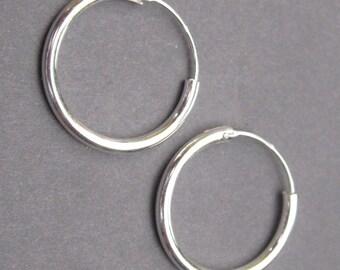 Sterling Silver Interchangeable Hoop Earrings, Medium Silver Hoop Earrings, Sterling Silver Earrings, Charm Earrings