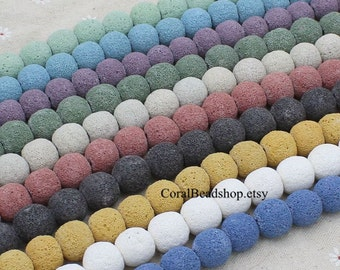 x0390- Mixed Color 15pcs Natural Lava Stone, Lava Bead Ball for Essential Oil Diffuser Necklace Making