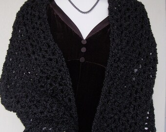 Black Shawl, Crochet Shawl, Shawl Crochet, Black Shawls, Crocheted Shawls, Shawl, Crochet Shawls, Evening Shawls Wraps, Midnight Black