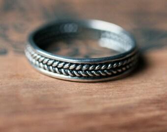 Sterling silver braided ring, unisex wedding ring, mens wedding band, wheat wedding band, rustic wedding ring, mens ring, custom made